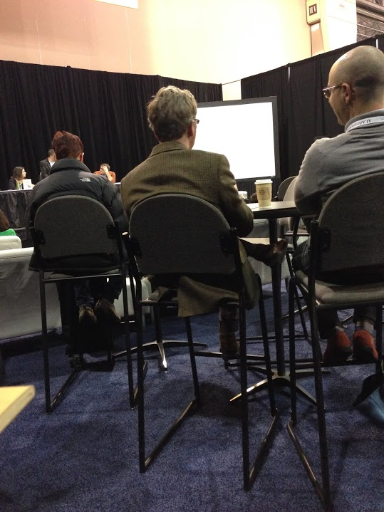The back of author-illustrator Matt Phelan's head. (He's the one in the middle.)