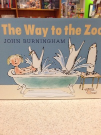 This is a funny book about a magic door connecting one bathroom to a zoo. Oh the mayhem! By favorite author John Burningham.