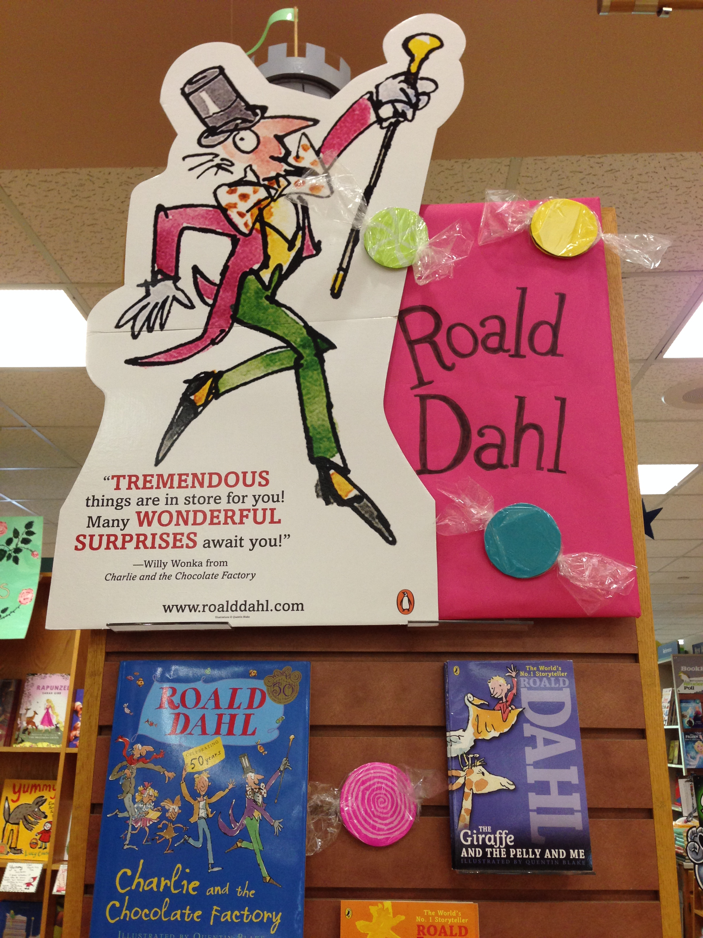 scrumdiddlyumptious celebrating roald dahl bookpeople s blog roald dahl endcap close up
