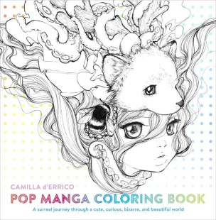 """Manga artist and Pop Surrealism superstar Camilla d Errico presents her first everadult coloring book, filled with portraits, patterns, and the stunning artwork her fans and collectors have come to love. This one-of-a-kind book offers you the opportunity tocollaborate with d Errico, adding your colors to her gorgeous black and whitelinework. Featuring everything from haunting and surreal character portraitsto pages filled with patterns and designs all rendered in d Errico sinimitable style, """"Pop Manga Coloring Book """"is guaranteed toprovide hours of coloring fun and excitement."""