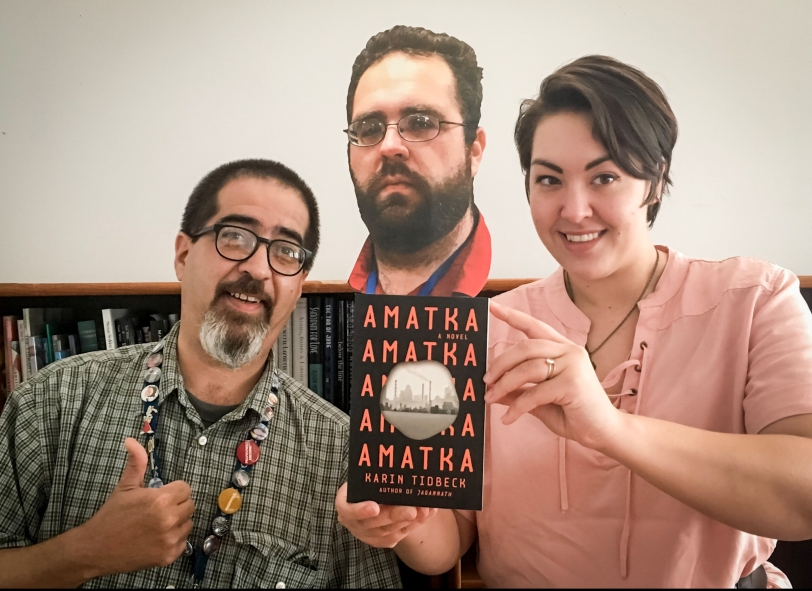 Booksellers Raul, Thomas, and Tomoko, recommending book Amatka by Karin Tidbeck