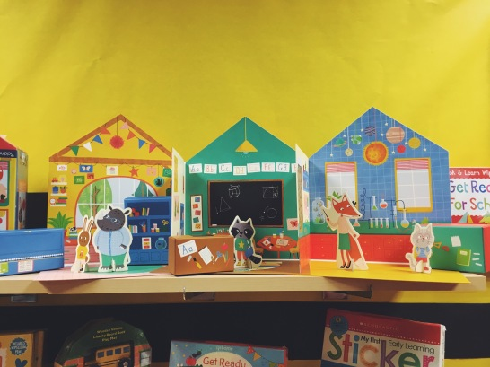 Bold colors, shapes, and characters in this interactive schoolhouse!
